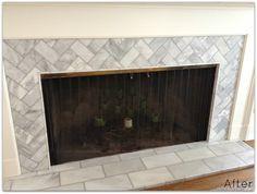 Herringbone tile pattern on fireplace   Living room: ideas ...