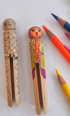 Kids craft color owl clothes pins
