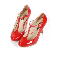 Retro Red T-Bar Round Toe Leather Heeled Shoes (81 AUD) found on Polyvore