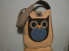 Totebag Recycled wool owl applique by granniesraggedybags on Etsy, $25.00