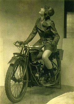 Eileen Percy on an Indian Motorcycle in an Ad for Fox Shoes, ca. 1920s Photo by Charles Gates Sheldon