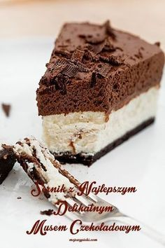 Cheesecake with chocolate mousse Polish Desserts, Polish Recipes, Fudge Recipes, Cookie Recipes, Dessert Recipes, Chocolate Slim, Czech Recipes, Sweet Recipes, Mousse
