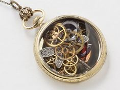 Steampunk Necklace Vintage 14k gold filled pocket watch movement case with gears wheels silver...