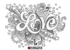 Love Coloring Pages, Adult Coloring Book Pages, Printable Adult Coloring Pages, Coloring Books, Coloring Sheets, Zentangle, Graffiti Lettering, Graffiti Alphabet, Hand Lettering