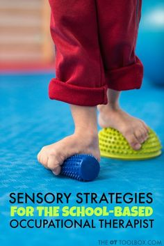 School-based OTs can utilize this resource of sensory strategies for school based OT and occupational therapy intervention in schools. Therapy Sensory Strategies for the School Based OT - The OT Toolbox Sensory Therapy, Sensory Tools, Sensory Activities, Learning Activities, Autism Sensory, Physical Activities, Sensory Motor, Sensory Diet, Sensory Issues
