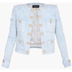 Balmain Cropped Stretch Cotton Blazer ($1,400) ❤ liked on Polyvore featuring outerwear, jackets, blazers, blue, button jacket, tailored blazer, cropped blazer jacket, button blazer and balmain jacket