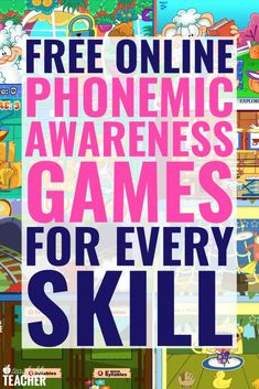 Free online phonemic awareness games provide tons of repetition and practice for new readers after you are done teaching Phonemic Awareness Kindergarten, Phonemic Awareness Activities, Kindergarten Games, Phonological Awareness, Teaching Phonics, Phonics Activities, Teaching Reading, Reading Fluency, Teaching Resources