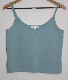$29.95 OBO Women's St. John Blue Knit Tank Top Spaghetti Strap Cami V Neck Size: Medium #StJohn #TankCami #Versatile