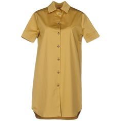 Blugirl Blumarine Short Dress ($320) ❤ liked on Polyvore featuring dresses, ochre, shirt dress, beige short dress, short sleeve mini dress, long shirt dress and beige dress