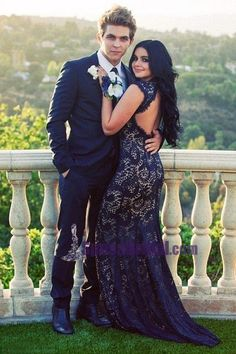 love her dress see through prom dress, prom couples, prom pictures Prom Dress With Train, Open Back Prom Dresses, V Neck Prom Dresses, Elegant Prom Dresses, Mermaid Prom Dresses, The Dress, Dress Prom, Dress Lace, Evening Dresses