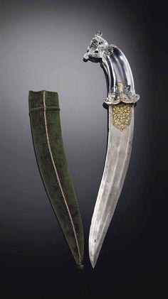 Indian (Mughal) khanjar, 18th century, rock crystal hilt.