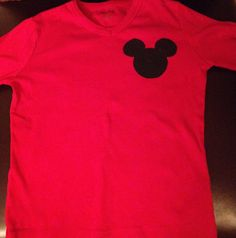 diy disney shirt.  I cut out the mickey silhouette from a black iron-on patch, and ironed it on.