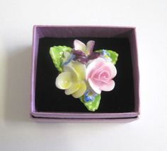 Vintage Coalport China Floral Brooch Pansies by TheWhistlingMan SOLD
