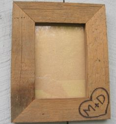 Rustic Wedding Barnwood Picture Frame 4x6 Woodburned Personalized Initials…