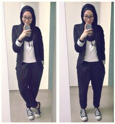 ootd. casual hijab outfit : casual formal style blazer, jogger pants, shirt, converse sneakers, pashmina, monochrome  Syaifiena W lookbook.nu/syaifiena