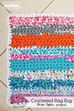 Such a clever idea! Not only that, but a perfect upcycling project. Turn old scraps of fabric into a rug instead of letting them pile up and take space, or worse, be discarded and wind up in the la…