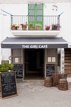 The Giri Café, strikingly designed Ibiza restaurant in San Juan ~ these walls do not reveal the beauty of with you will find within! Enter and be amazed...  San Juan village square