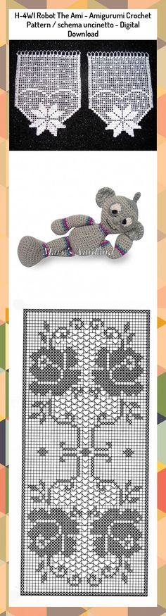 H-4WI Robot The Ami Amigurumi Crochet Pattern / schema | Etsy | 875x236