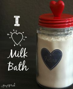 Love this DIY Milk Bath Recipe and all the essential oil combinations for Valentines Day. Easy and inexpensive crafty gift.