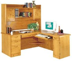Waterfall Genuine Oak Furniture Collection -- Executive L-Desk With Right Computer Wing . $1499.00. All pieces in the Waterfall Collection are constructed of solid American red oak and oak veneer! 7-ply baltic birch drawer sides. Contemporary styling with recessed drawer pulls and hand-crafted dado joint construction. Hand-rubbed medium oak lacquer finish. Ball-bearing full extension file drawers. All file drawers accommodate letter and legal hanging files. Heavy metal European g...