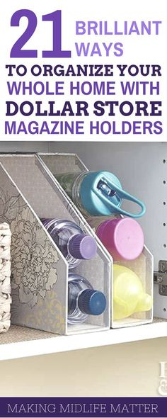 Get ready for an organized school year with these 21 great ideas for organizing your whole home with dollar store magazine holders. home diy organizations Dollar Store Magazine Holder Organization Tips Organisation Hacks, Pantry Organization, Dollar Store Organization, Magazine Organization, Small Home Organization, Stationary Organization, Household Organization, Bedroom Organization, Dollar Store Hacks