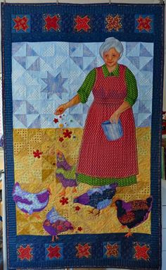 Grandma feeding the chickens.  This was created for a half-square triangle challenge.  This is the first of a 5-quilt series of 5 generations of women in my family