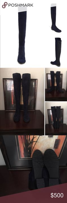 """5050 Over the Knee Leather Boot (Women 1 1/4"""" heel; 22 1/2"""" shaft; 12"""" - 15"""" calf circumference. Stretches to fit calf Pull-on style Synthetic and leather upper/textile and leather lining/rubber sole Made in Spain Salon Shoes💕❤️💁🏻 they are new never used but doesn't have tags or a box 👍🏼 authentic ✔️ Stuart Weitzman Shoes Ankle Boots & Booties"""