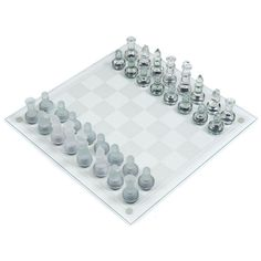 This striking chess set comes with a 13½ in. glass board with alternating frosted and clear squares. The glass chess pieces are a frosted and transparent, designating each side of play. The kings measure 3 in. tall. Felt bottoms will protect the playing surface from scratches. It's a fully functional chess set and an eye catching decorative piece.