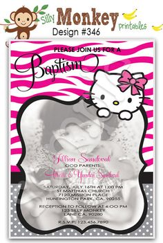 Zebra Print Hello Kitty inspired Birthday, Baptism, or Baby Shower Invitations or thank you card DIY - 346. $14.95, via Etsy.