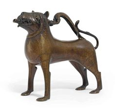 A bronze aquamanile in the form of a lion; North German; 13th c.