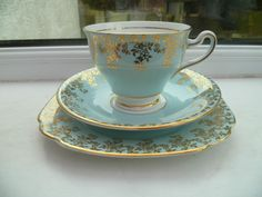 Lovely Vintage Clare China Trio Tea Cup Saucer Plate Sky Blue Gilded 709