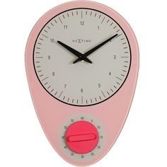Shop for NeXtime Hans Pink Wall Clock from our Retro Home Décor Accessories. Vintage clocks don't come any cooler than this! Pink Wall Clocks, Blue Clocks, Pink Home Decor, Retro Home Decor, Retro Kitchen Accessories, Timer Clock, Kitchen Wall Clocks, Wall Clock Online, Striped Walls