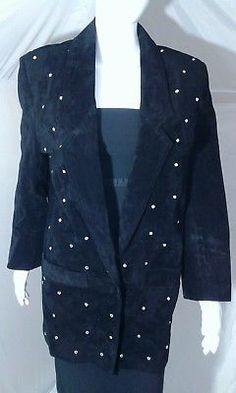 86b03fc4c33c AVANTI Black Suede Rhinestone Studded Leather Jacket Small