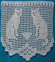 Filet crochet cat lace from The Chicken & Hen Gift Shop.