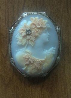 Antique 14k White Gold Shell Cameo Pin/Pendant w/Filagree Frame & Diamond