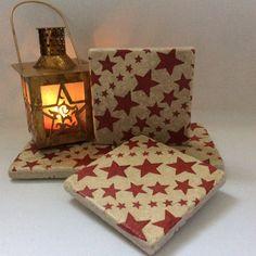Emma Bridgewater Red Stars Set of 2  Stone by LisaJaneofSurrey