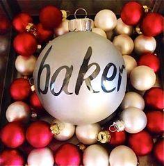 Bulb, spray paint, letter stickers -Christmas Bulb DIY