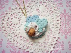 Blue Hearts and Cupcake Necklace