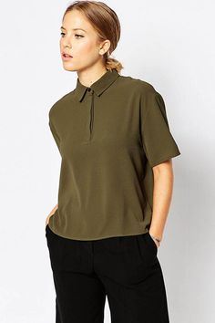 Army Green Lapel Short Sleeves Tee #Army #Tee #maykool