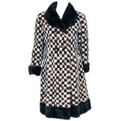 1950's Vintage Schiaparelli Checkered Mink Fur Double-Breasted Coat www.TimelessVixen.com