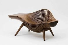 """Steam 11"" lounge chair BAE SEHWA  ""Steam 11"" lounge chair, 2012  Steambent walnut  23 31/50 × 47 6/25 × 25 49/50 in  60 × 120 × 66 cm  Edition of 6 + 2AP  R 20th Century Gallery  Plus qu'un fauteuil design une œuvre d'art"