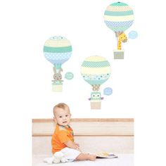 Blue Animal Hot Air Balloons Fabric Wall Stickers