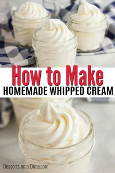 Lower Excess Fat Rooster Recipes That Basically Prime Once You Try This Homemade Whipped Cream Recipe, You Will Never Buy Store Bought Whipped Cream. This Is So Easy With Just 2 Ingredients And Tastes Amazing. Whipped Cream Ingredients, Whipped Cream Desserts, Homemade Whipped Cream, 2 Ingredients, Whipped Frosting, Easy Desserts, Delicious Desserts, Dessert Recipes, Dinner Recipes