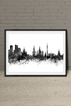 Moscow poster, Moscow print, Moscow Watercolor,Moscow skyline, Moscow Russia cityscape, wall art, home decor, wall decor -x199