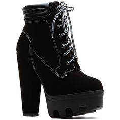 CiCiHot Chunky Sole Black Hiker Bootie ($46) ❤ liked on Polyvore featuring shoes, boots, ankle booties, heels, sapatos, black boots, suede ankle boots, black suede ankle booties, black suede bootie and black heel boots