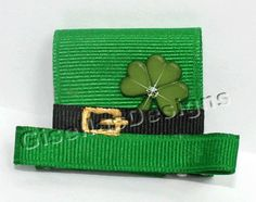 Patrick's Day Hat Ribbon sculpture - bow for girls so easy! Ribbon Hair Bows, Diy Hair Bows, Diy Bow, Bow Hair Clips, Bow Clip, Making Hair Bows, Bow Making, St Patricks Day Hair Bows, Holiday Hair Bows