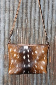 S.E.M. LEATHER BAGS designed by Stephany Miller Axis Deer hide crossbody purse with Italian leather