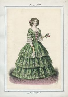 January 1852, Day Dress perfect for afternoon tea or a garden party; Ladies Companion Magazine.
