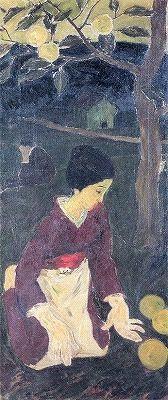 Okayama 岡山 Yumeji Art Museum 夢二郷土美術館 竹久夢二 初恋 Hatsukoi   大正元年 (1912) /カンバス、油彩   日本画、水彩画、版画など、多様な表現を試みた夢二。 「初恋」は、確認されている中で最も初期の油彩作品です。