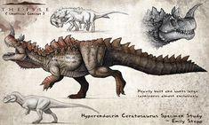 Hyperendocrin Ceratosaurus Fan Concept by EmilyStepp on DeviantArt Dinosaur Drawing, Dinosaur Art, Monster Concept Art, Fantasy Monster, Creature Concept Art, Creature Design, Fantasy Creatures, Mythical Creatures, Jurassic World Dinosaurs